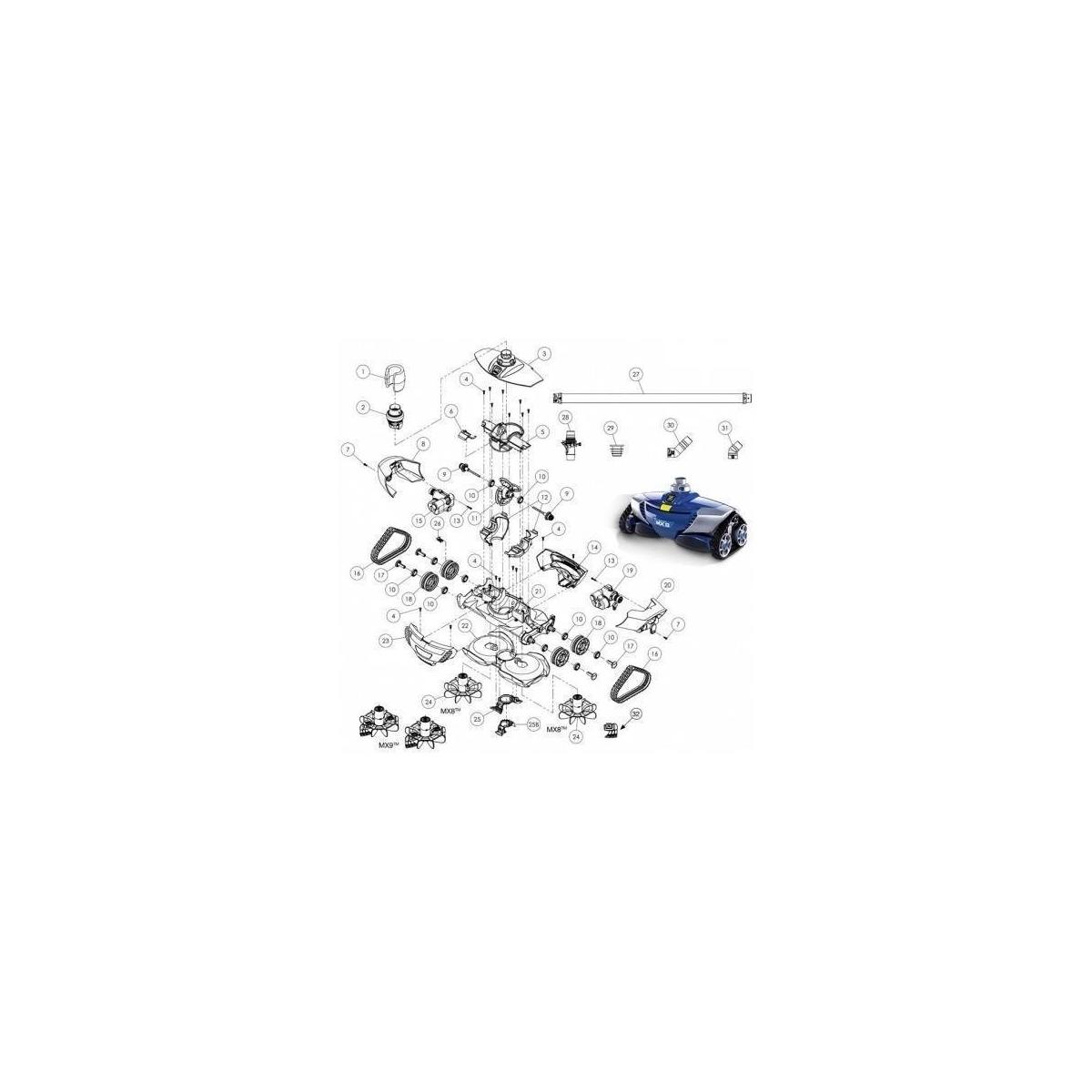 Re-acondicionado Conjunto soporte aletas del motor Zodiac MX8 W79013