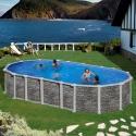 Piscina desmontable Gre Santorini ovalada imitación piedra sin postes