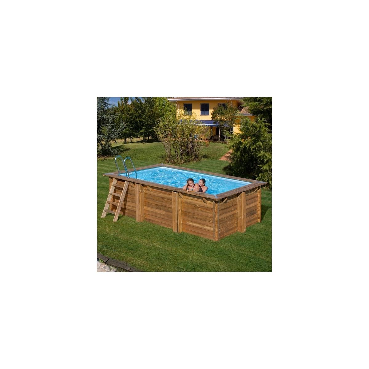 Piscina desmontable de madera Gre Sunbay Marbella rectangular 427x277x119