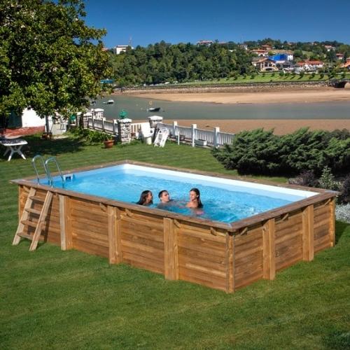 Piscina desmontable de madera Gre Sunbay Evora rectangular 620x420x133