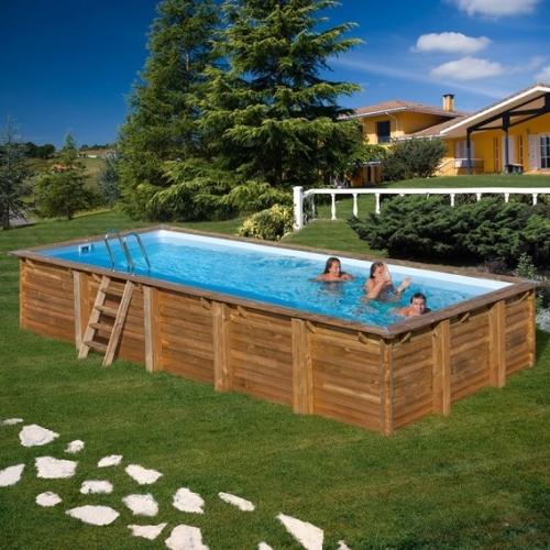 Piscina desmontable de madera Gre Sunbay Braga rectangular 815x420x146
