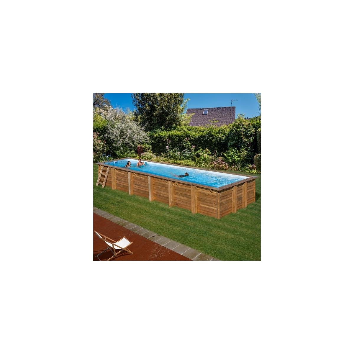 Piscina desmontable de madera Gre Sunbay Anise rectangular 910x318x146