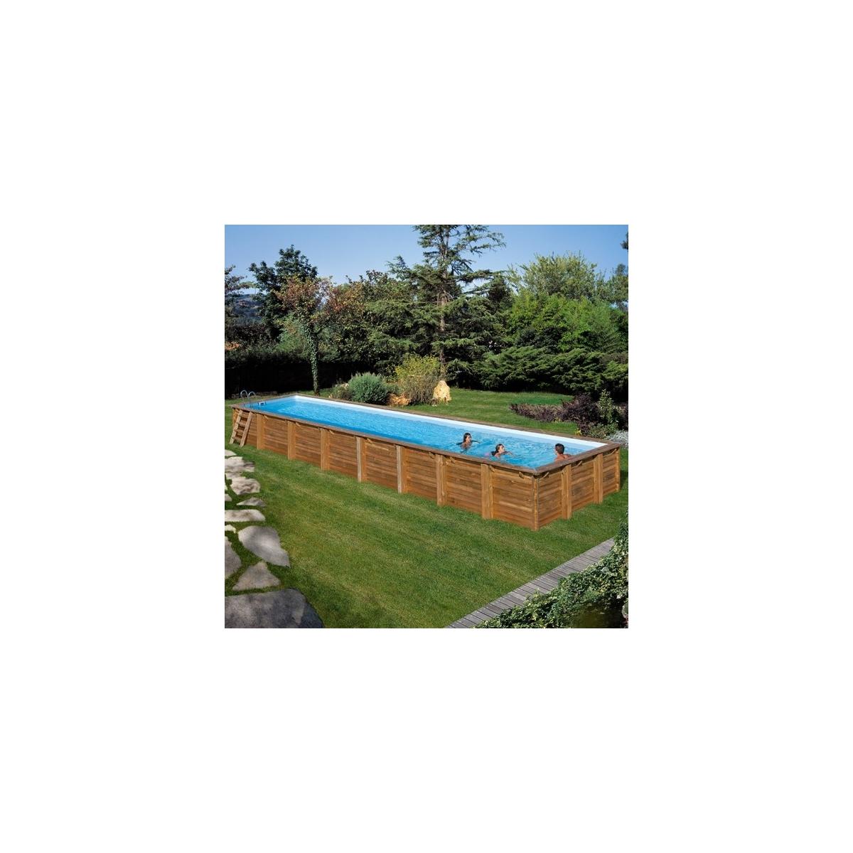 Piscina desmontable de madera Gre Sunbay Cardamon rectangular 1210x418x146
