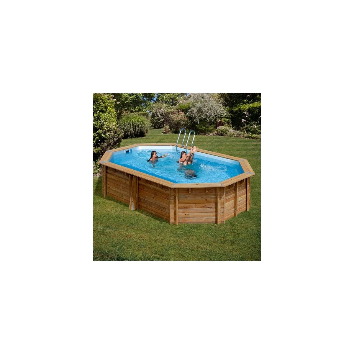 Piscina desmontable de madera Gre Sunbay Cannelle ovalada 551x351x119