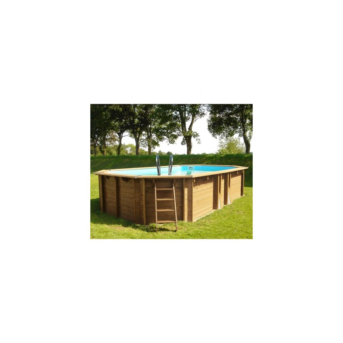 Piscina desmontable de madera Gre Sunbay Safran ovalada 637x412x133