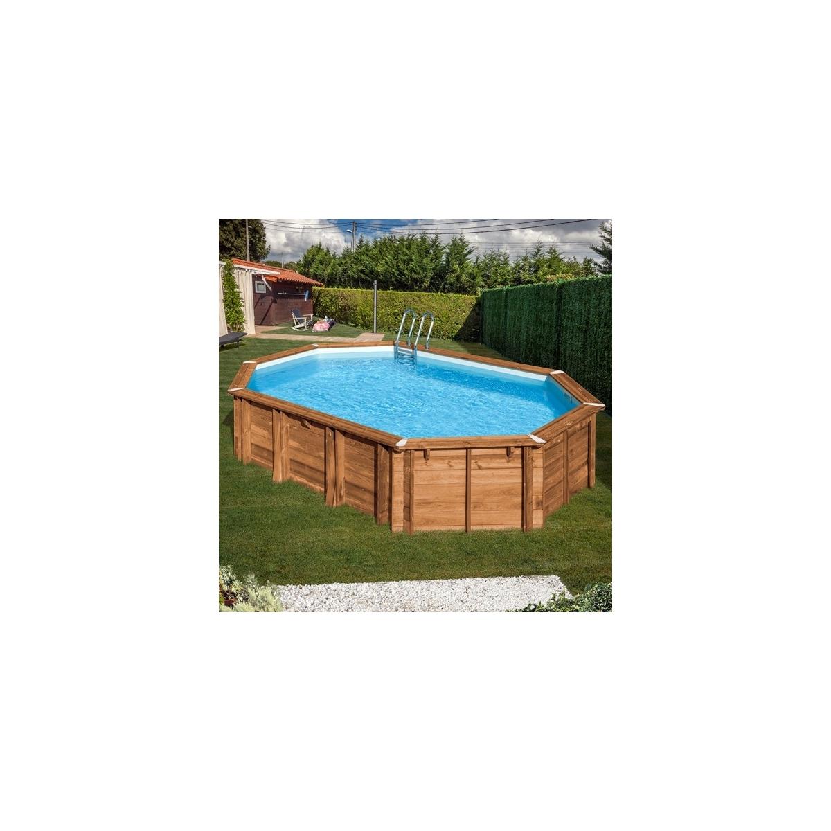 Piscina desmontable de madera Gre Sunbay Avocado ovalada 656x456x131