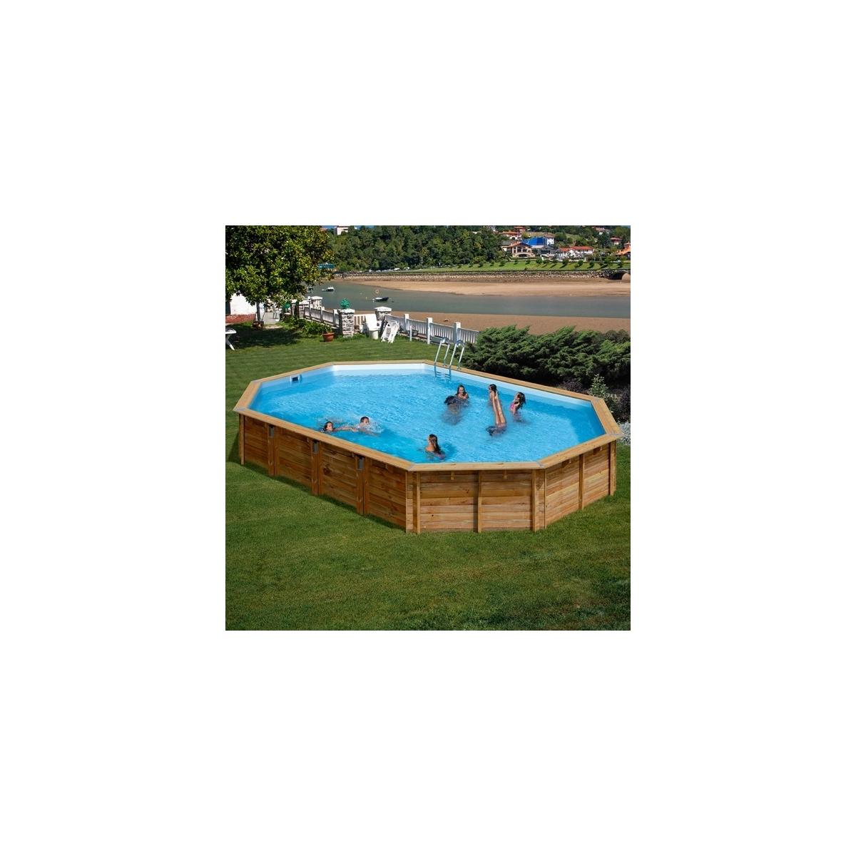 Piscina desmontable de madera Gre Sunbay Avila ovalada 923x576x146