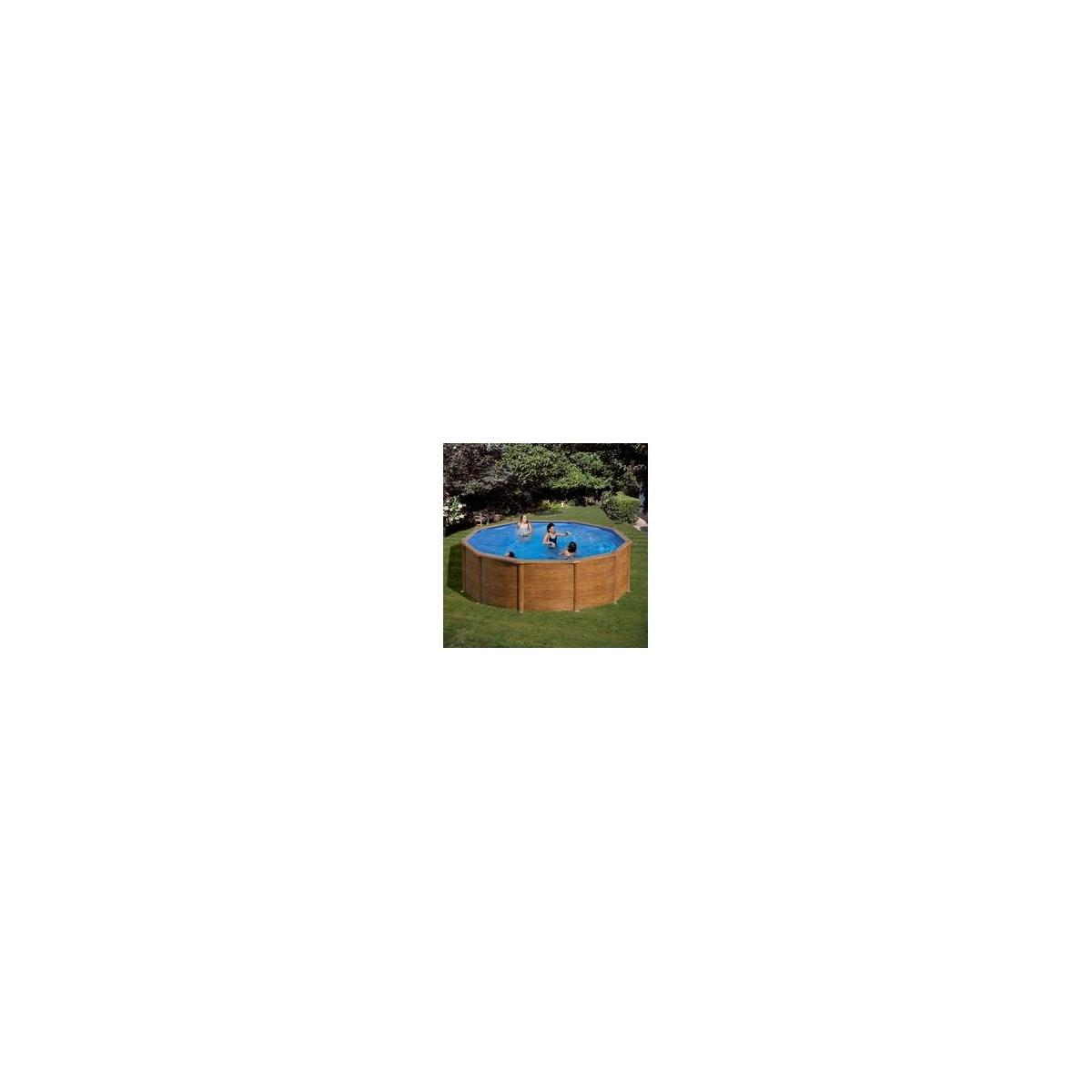 PISCINA DE ACERO ASPECTO MADERA - Redonda Ø350x120cm