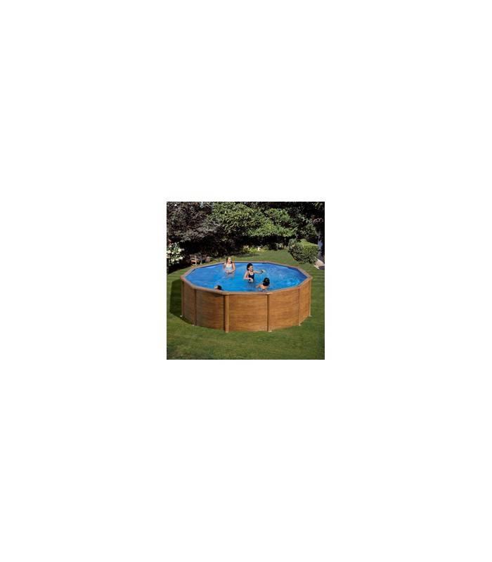 Piscina de acero aspecto madera redonda 460x120cm - Piscina de madera ...
